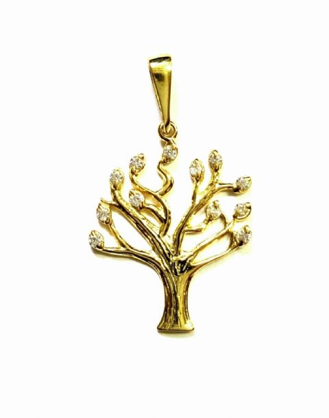 9ct Yellow Gold Stone Set Tree of Life Pendant
